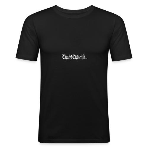 Chuchichaeschtli shirt Black - Männer Slim Fit T-Shirt