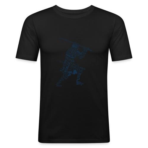 Typo-Ninja-Blue - Männer Slim Fit T-Shirt