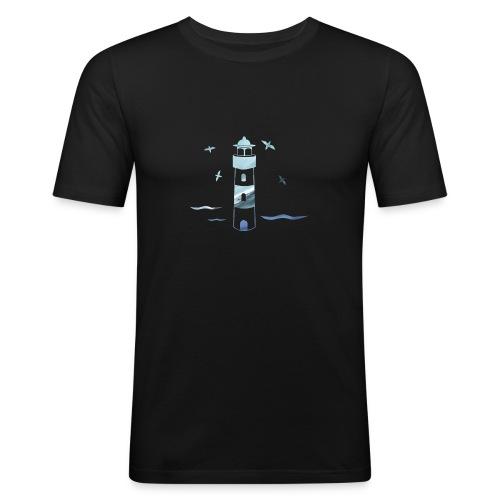 Leuchtturm Wellen - Männer Slim Fit T-Shirt