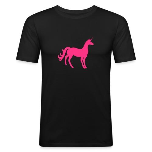 Unicorn in Pink. Vielleicht das letzte Einhorn. - Männer Slim Fit T-Shirt