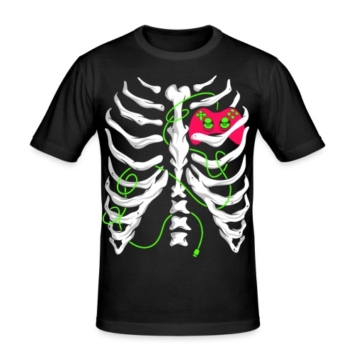 Skelett Gamer Gaming Controller - Männer Slim Fit T-Shirt