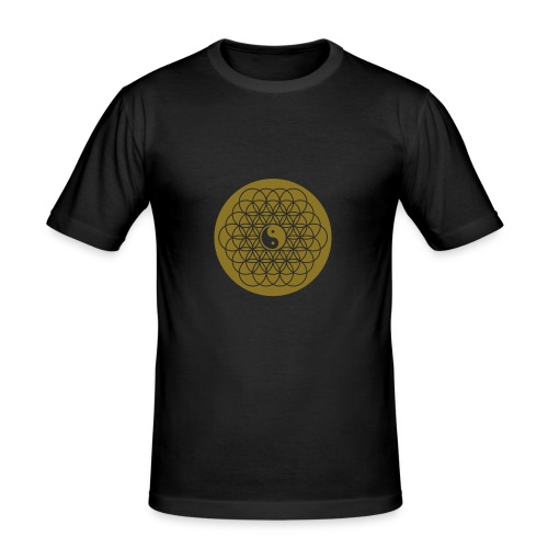 Spiritualität - Lebensblume mit Yin Yang - Männer Slim Fit T-Shirt