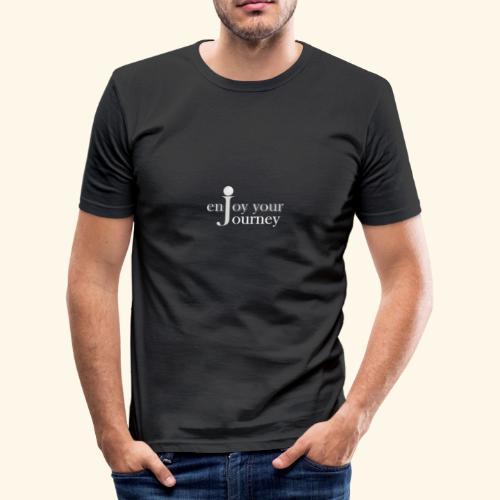enjoy your journey Logo - weiß - Männer Slim Fit T-Shirt