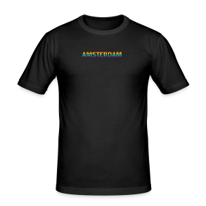 Amsterdam in gay pride rainbow kleuren - slim fit T-shirt