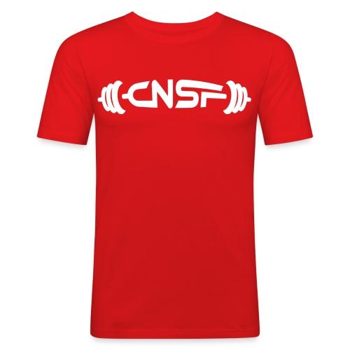 cnsf_white - Miesten tyköistuva t-paita