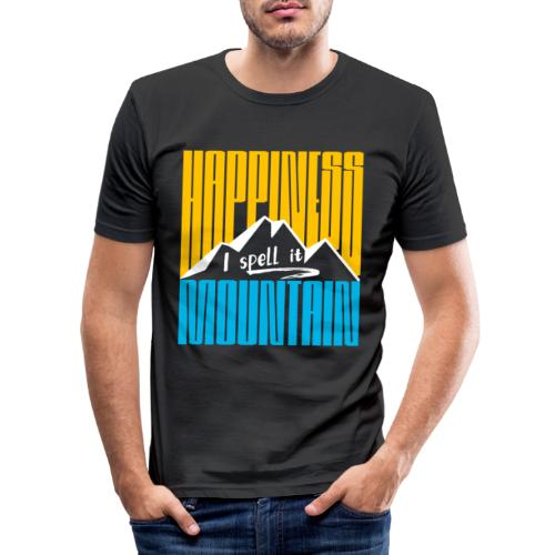 Happiness I spell it Mountain Outdoor Wandern Berg - Männer Slim Fit T-Shirt