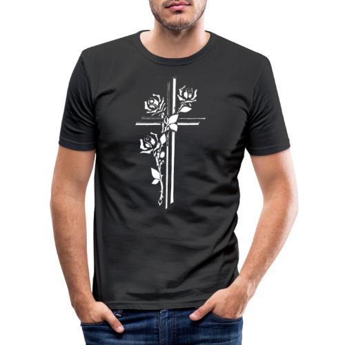 Roses On Cross - Herre Slim Fit T-Shirt
