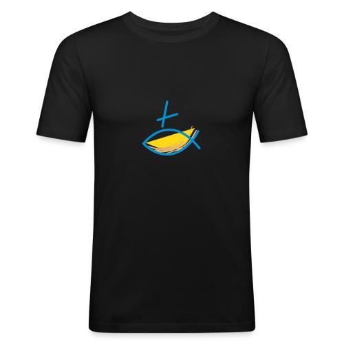 Altkatholischer Logo Fisch Blau/Gelb - Männer Slim Fit T-Shirt