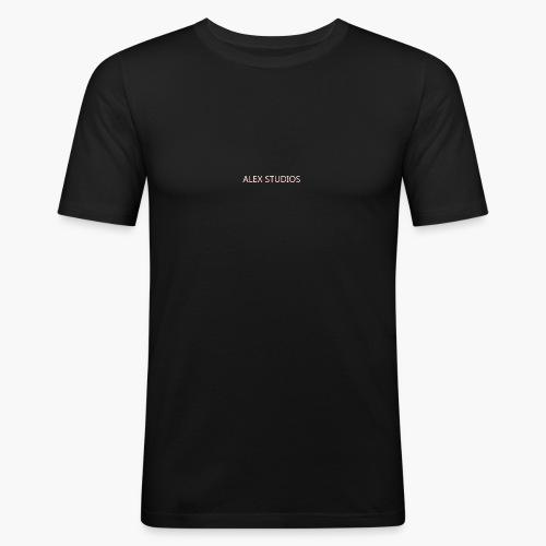 LogoAlexStudiosWhite - Männer Slim Fit T-Shirt