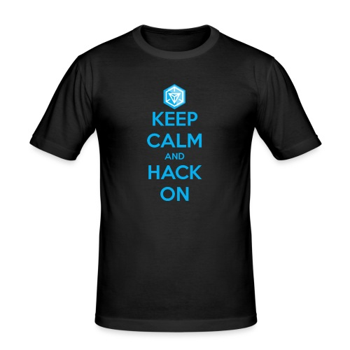 keep calm and hack on - Maglietta aderente da uomo