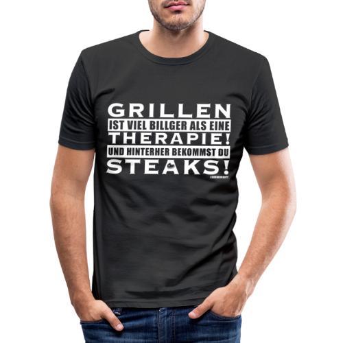 Grillen - Therapie - Steaks - Männer Slim Fit T-Shirt