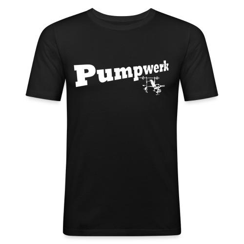 Pumpwerk bench white - Männer Slim Fit T-Shirt