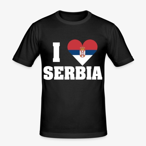 iloveserbia white png - Mannen slim fit T-shirt