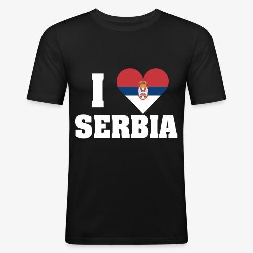 iloveserbia white png - Mannen slim fit T-shirt