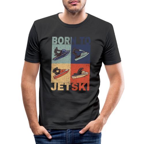 Jetski Wassersport Born to Jetski Spruch Retro - Männer Slim Fit T-Shirt