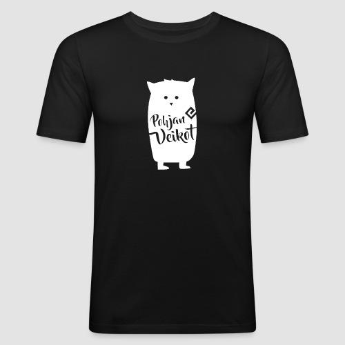 Veikko-pöllö valkoinen - Miesten tyköistuva t-paita