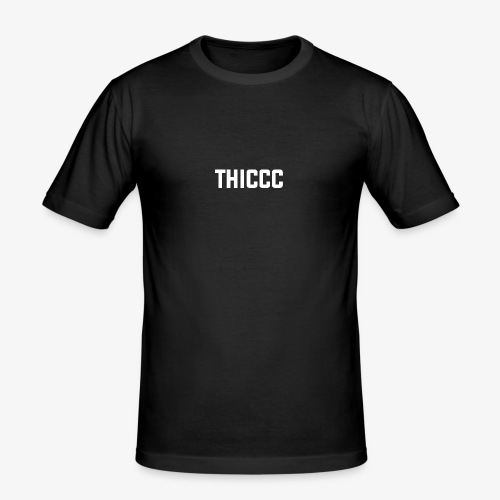 thiccc text logo WHITE - Men's Slim Fit T-Shirt