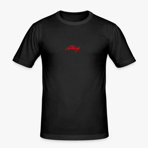Cal Wardy Signature - Black T-Shirt - Red Font - Men's Slim Fit T-Shirt