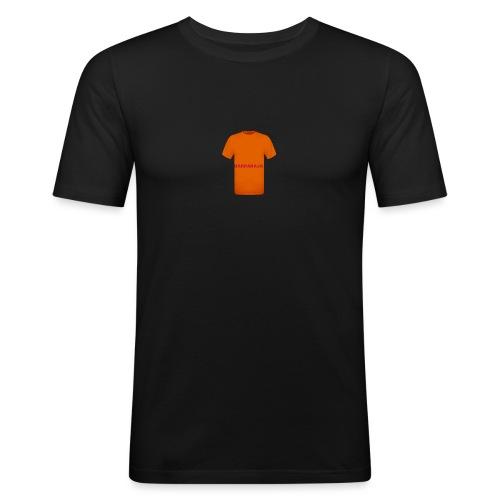 CAMISETA NARANJA CON LETRAS ROJAS-BARRABAJA - Camiseta ajustada hombre