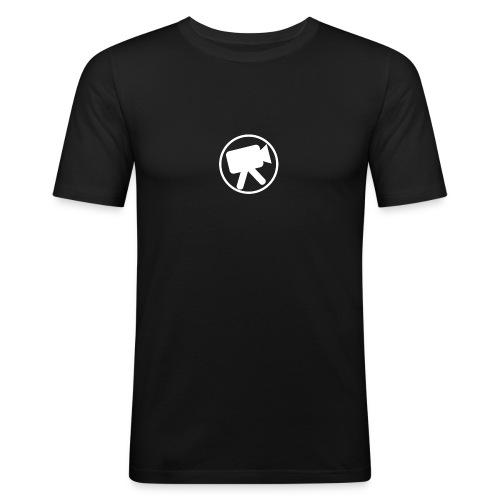 logo wit videotijd - Mannen slim fit T-shirt