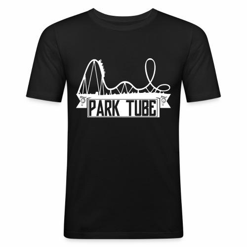 ParkTube Banner mit Achterbahn - Männer Slim Fit T-Shirt