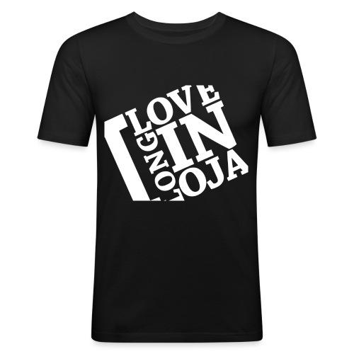 I Love Longinoja -merkki vino - Miesten tyköistuva t-paita