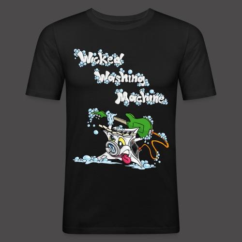 Wicked Washing Machine Cartoon and Logo - slim fit T-shirt