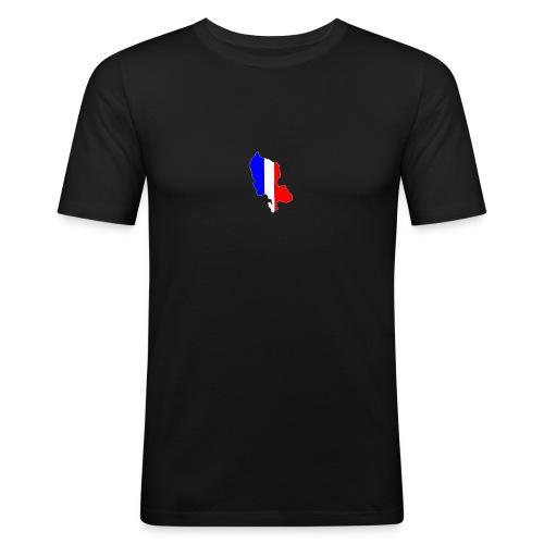 Carte Territoire de Belfort bleu blanc rouge - T-shirt près du corps Homme
