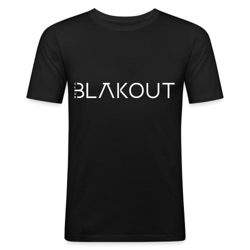 Bläkout -logo valkoinen - Miesten tyköistuva t-paita