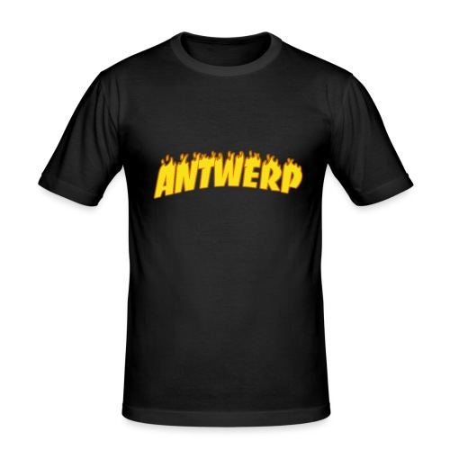 Antwerp T-Shirt Black (Flame logo) - Mannen slim fit T-shirt