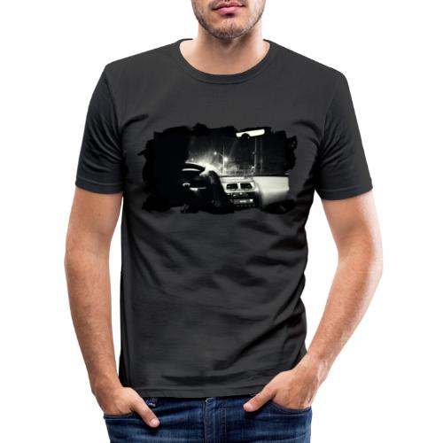 Driving at Night (with white PS logo) - Herre Slim Fit T-Shirt