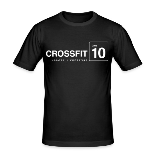 CrossFit_Gleis_10_Logo_1_White - Männer Slim Fit T-Shirt
