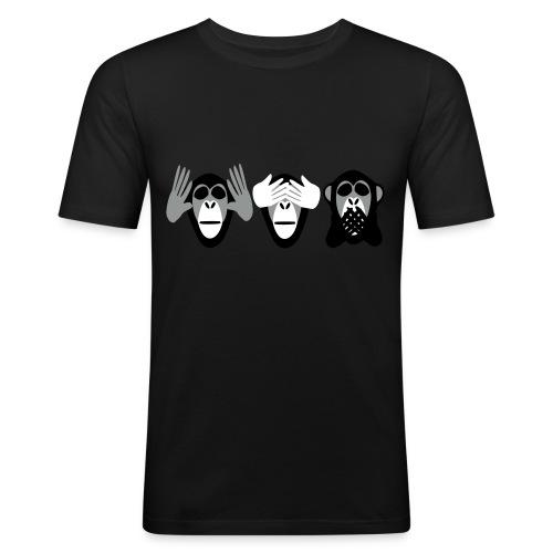 drei affen, nichts hoeren nichts sehen nichts - Männer Slim Fit T-Shirt