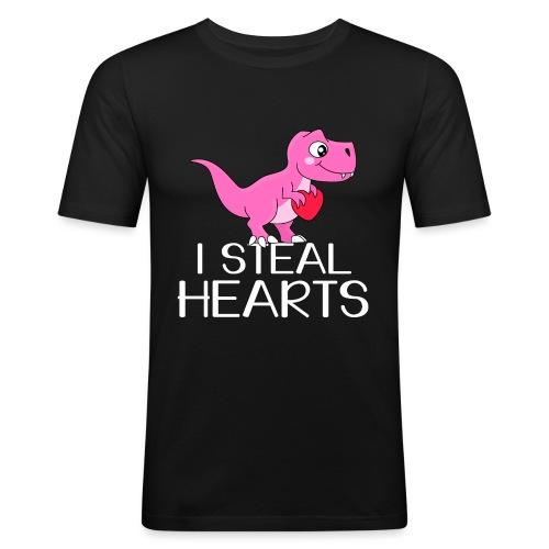 I steal hearts T-Rex - Männer Slim Fit T-Shirt