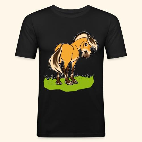 Freundliches Fjordpferd (Ohne Text) Weisse Umrisse - T-shirt près du corps Homme