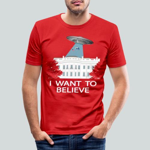 I want to believe - Anti-Trump Design - T-shirt près du corps Homme