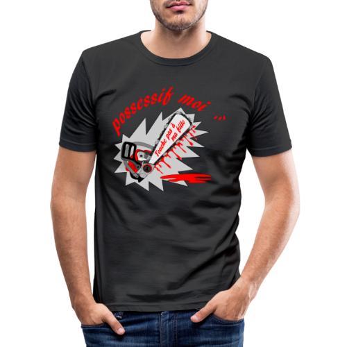 t shirt possessif moi touche pas à ma fille FS - T-shirt près du corps Homme