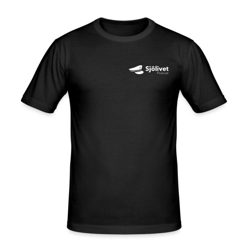 Sjölivet podcast - Vit logotyp - Slim Fit T-shirt herr