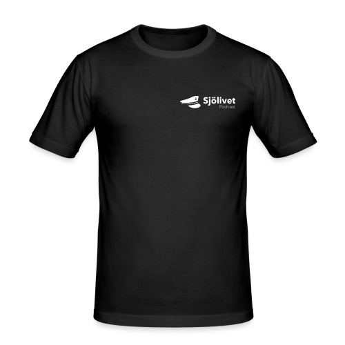 Sjölivet podcast - Vit logotyp - Slim Fit T-shirt herr