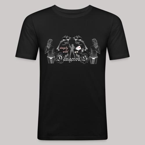 simply wild Dangerous on black - Männer Slim Fit T-Shirt