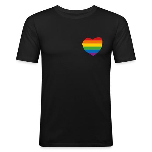 Regenbogenherz T Shirt - Männer Slim Fit T-Shirt
