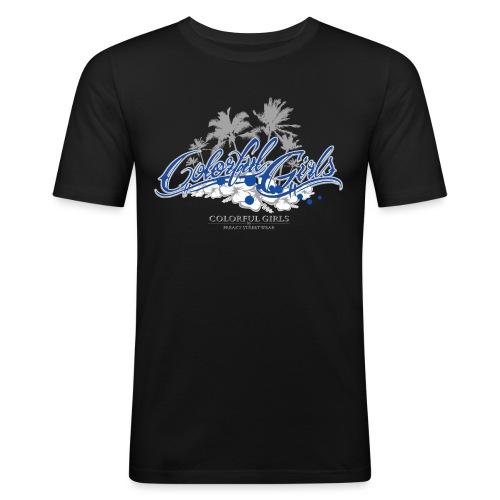 Colorful Girls Logo - Männer Slim Fit T-Shirt