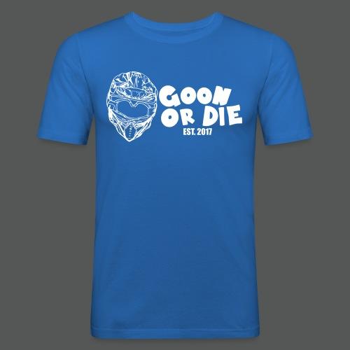 GOON OR DIE Helm & Schrift Weiß - Männer Slim Fit T-Shirt