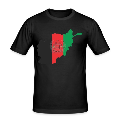 Afghanistan Flag in its Map Shape - Men's Slim Fit T-Shirt
