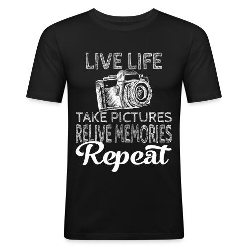 Take Pictures Skizzierter Fotoapparat Fotografie - Männer Slim Fit T-Shirt