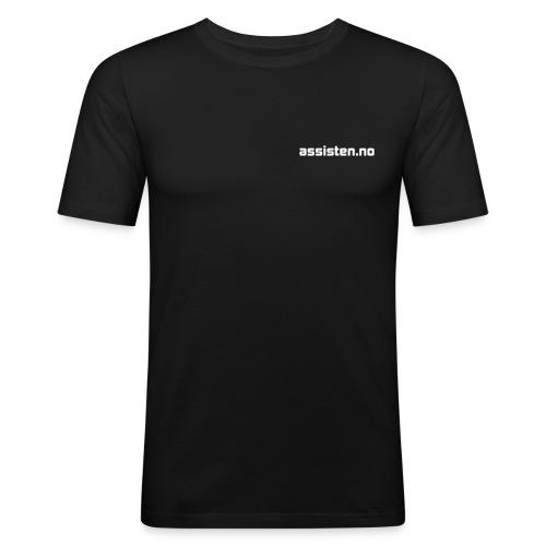 Assisten-logo-1F-neg - Slim Fit T-skjorte for menn
