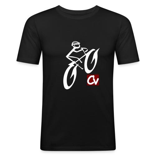 cuboviaggiatore rosso bianco logo grand - Men's Slim Fit T-Shirt