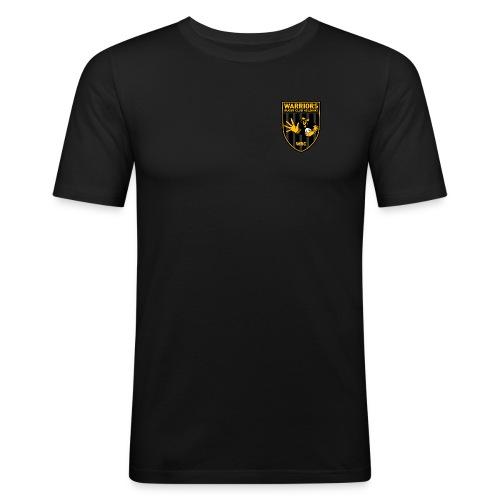 Pieni logo tekstillä - Miesten tyköistuva t-paita