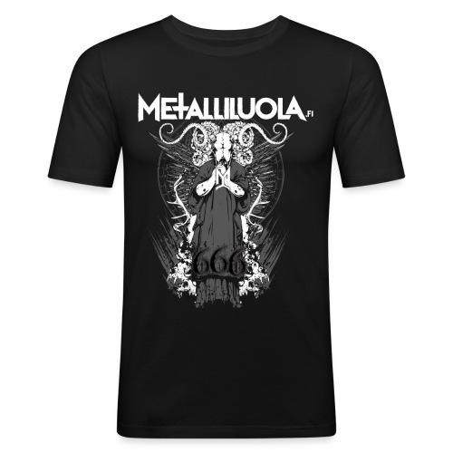 Metalliluola logo ja Demoniac 666 - Miesten tyköistuva t-paita