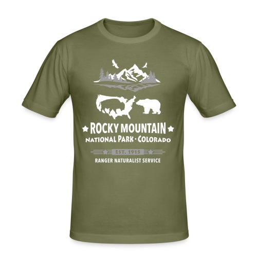 Rocky Mountain Nationalpark Berg Bison Grizzly Bär - Men's Slim Fit T-Shirt